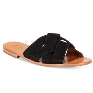 FRYE Carla Criss Cross Open Toe Black Sandals 6.5M